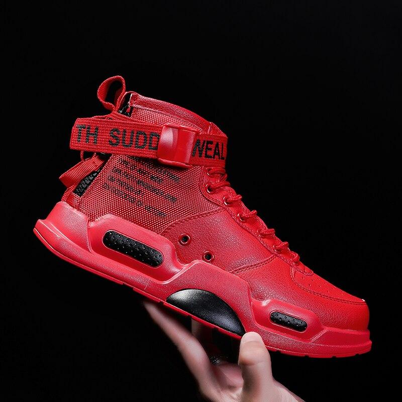 Botas informales para el aire libre para hombre, zapatillas de deporte de moda con top alto, zapatos de cadera rojos populares, zapatos de mujer 2019 para hombre