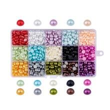 Pandahall 1 caixa 4/6/8/10mm meia volta plana cor misturada imitação pérola abs acrílico cabochons gem scrapbook diy