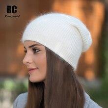 Rancyword] chapeaux dhiver de haute qualité   Bonnets en cachemire pour femmes, bonnet Skullies en laine tricotée Ladise, Angora pompon om Gorros RC1226
