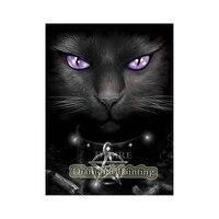 EASHRU diamant peinture point de croix chat noir violet yeux bricolage diamant broderie couture plein carre perceuse decor a la maison PT3077