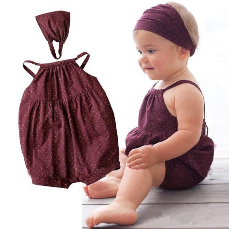 Комбинезон для маленьких девочек, коричневый, с ремнем на голову, 2 шт., комплект одежды для новорожденных девочек, 2018