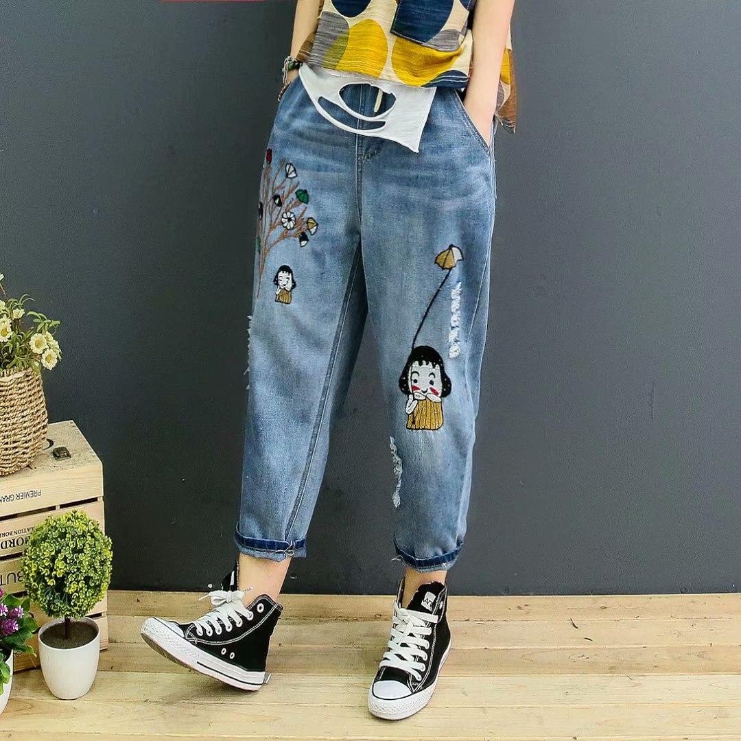 QPFJQD viento nacional mujeres lindo dibujos animados bordado Jeans agujero elástico cintura Harem pantalones de mezclilla Casual suelta agua lavada Pantalones
