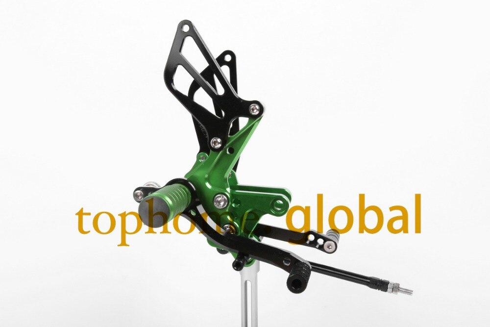 Para Suzuki GSXR750 1996-2005 verde y negro CNC Rearsets pie pinzas traseras pie clavijas 1997, 1998, 1999, 2000, 2001, 2002, 2003