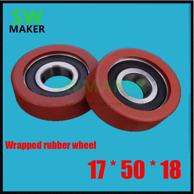 17*50*18mm gummilager rad, polyurethan lager, 6203 paket gummi lagerscheibe, PU rad roller, gummi rad