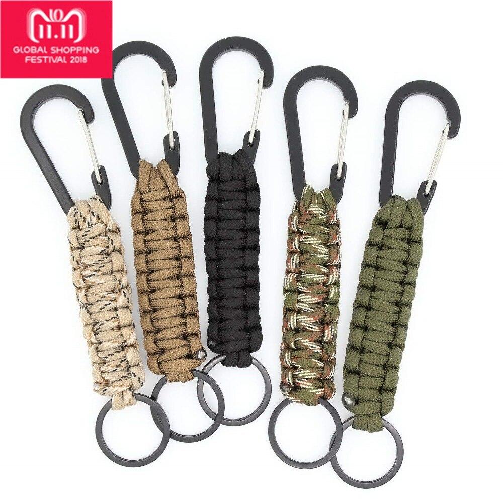 Llavero con diseño de paracord con mosquetón, cordón trenzado, gancho de anillo de utilidad para llaves, linterna de cuchillo, mochila de Camping al aire libre