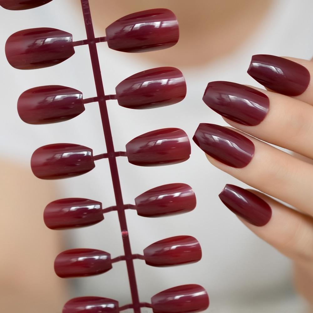 Brillante vino rojo caramelo uñas falsas mujeres usan diseño de ataúd medio falsa decoración para uñas artificial para Kit de decoración de Color puro P83B