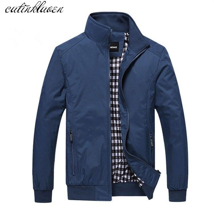 EU Size 2017 New Fashion Brand-Clothing Jacket Men Casual Double Zipper Coat Men Trend Pocket Mandarin Collar Bomber Jacket Men