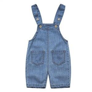 Summer Baby Denim Jumpsuit Cotton Pocket Jeans Overalls Infant Shorts High Quality Pants Kids Girls Boys Fashion Button Jumpsuit