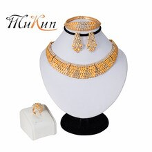 MUKUN 2019 NEW Ethiopian Round Jewelry Set Gold Color Necklaces Earrings Bangle Ring Habesha Jewelry Eritrean Wedding Jewelry