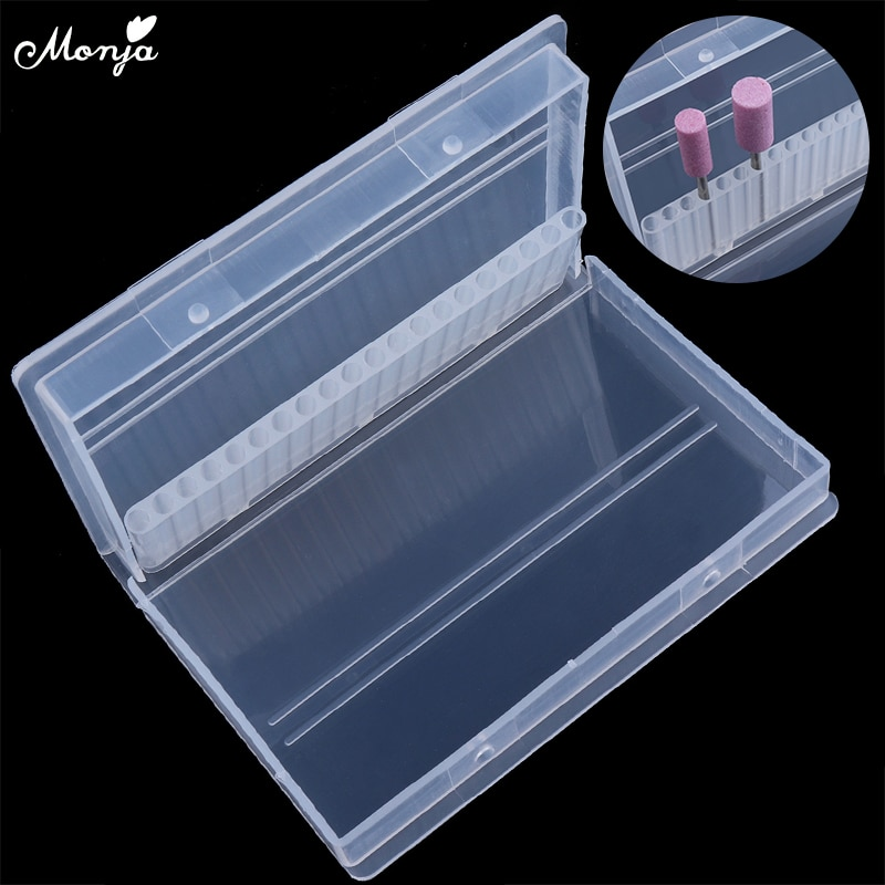 Monja-Caja de almacenamiento desmontable para taladro de decoración de uñas, con 20 agujeros, contenedor de almacenamiento para herramientas de manicura