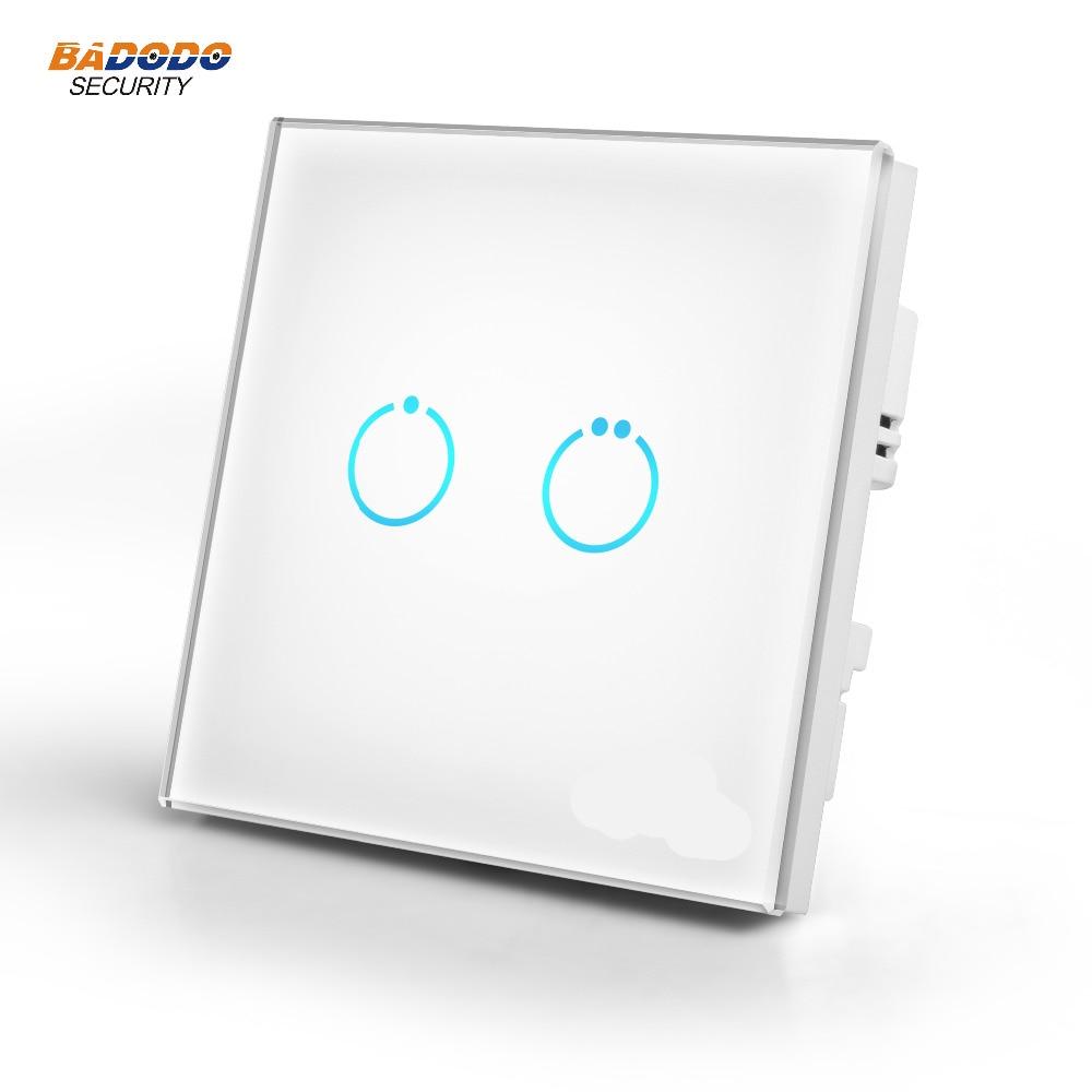 Interruptor de encendido del Panel táctil de cristal doméstico z-wave Plus MCO eu868,42mhz 2 relé de encendido/apagado MH-S312 para control de luz de la lámpara