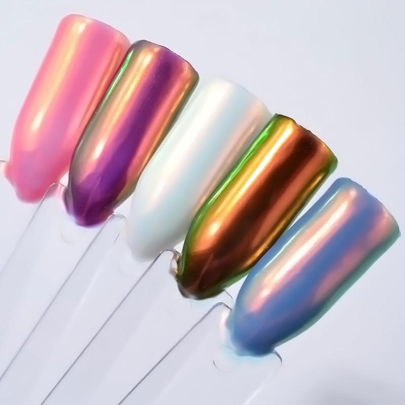 1 Box Aurora Unicorn Powder Mermaid Neon Nail Art Chrome Pigment Manicure Decorations in Tip Glitters for Nails Art Decoration