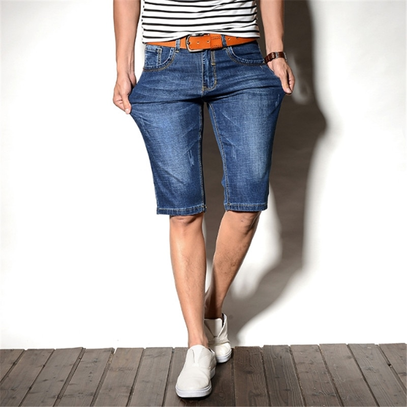 Verano de las Bermudas de nueva moda de verano Plus tamaño 36 38 40 42 pantalones cortos hombres azul clásico transpirable Denim Jeans Casual corta,