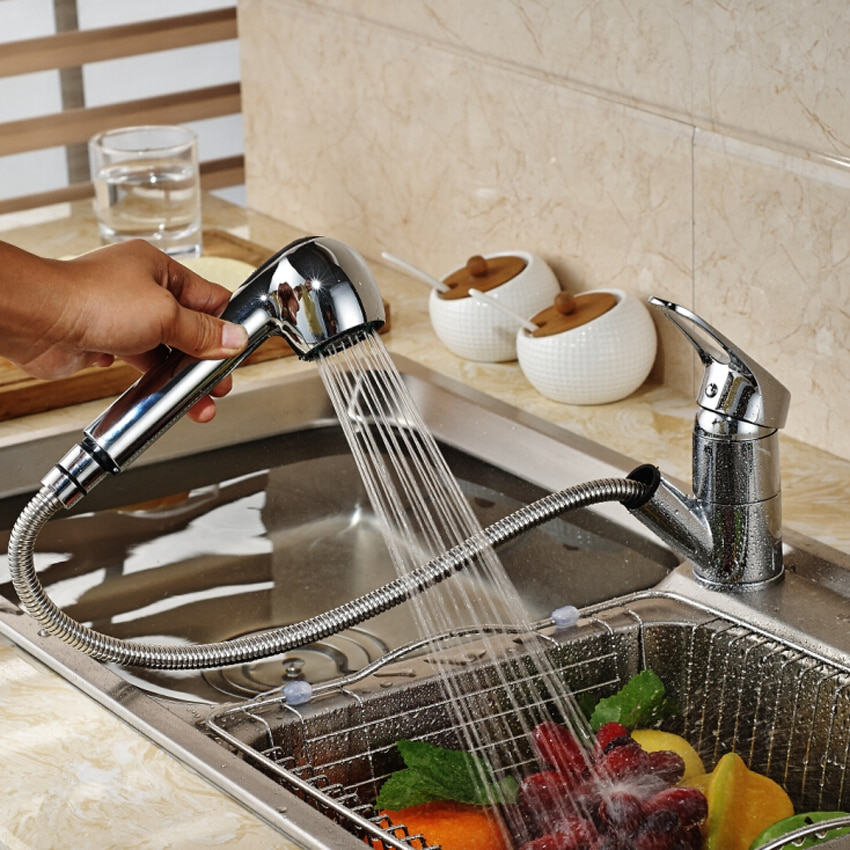 MOIIO Pull Out Kitchen Faucet Deck Mounted Brass Kitchen Mixer Washing Taps Deck Mounted Sprayer Stream Spout Pull Out Faucet
