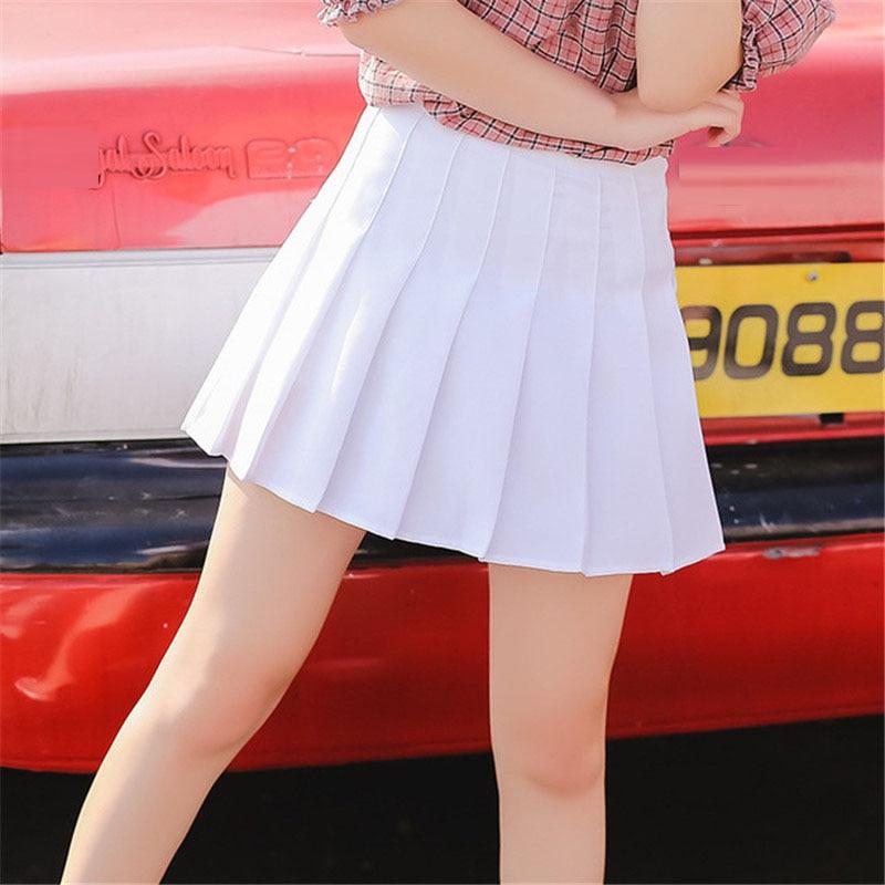 Japanese Summer Women Pleated Skirts High Waist 2018 Casual elegant Slim Preppy Style short school girls Black White  Skirts