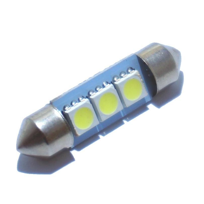 10PCS 36mm 39mm 41mm DC 12V Festoon C5W 3022 3021 3175 6428 6430 Cold White 3 SMD 5050 LED Interior Dome Light Lamp Bulb For Car