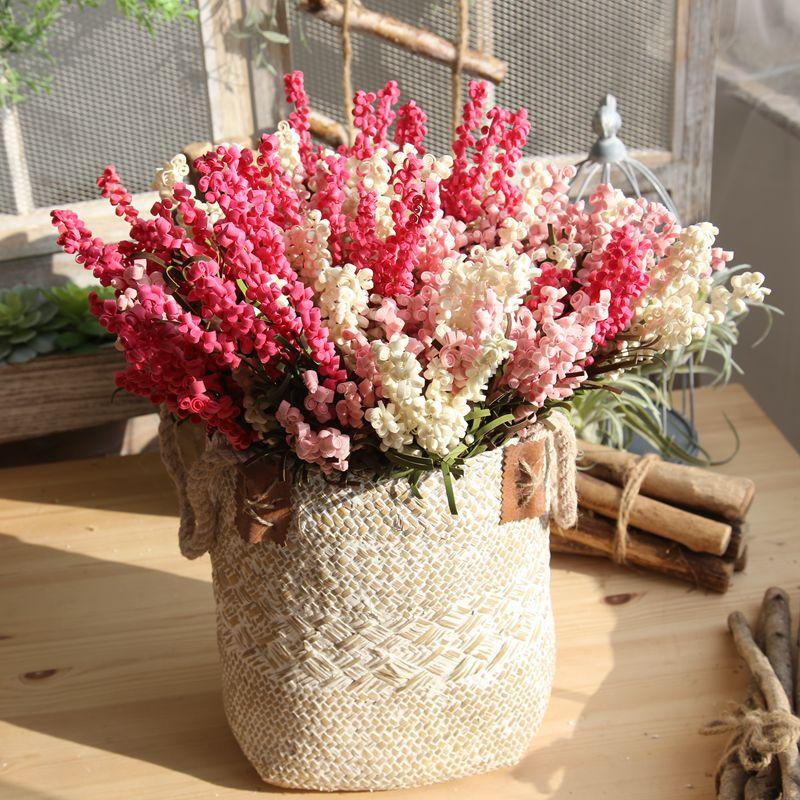 8 ramas de flores artificiales 7 tenedor rollo de cuero de espuma de lavanda flor falsa decoración de boda para el hogar