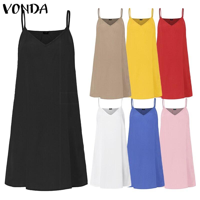VONDA 7Colors Women Dress 2020 Summer  Inner Dress Sexy Spaghetti Strap Lining Vest Dress Short Sleeveless Vestidos Plus Size