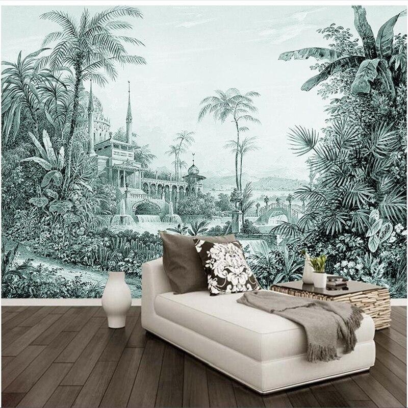 Papel tapiz personalizado wellyu, papel pintado a mano, bosque tropical, paisaje, pared, papeles tapiz decoración del hogar, murales de pared 3d
