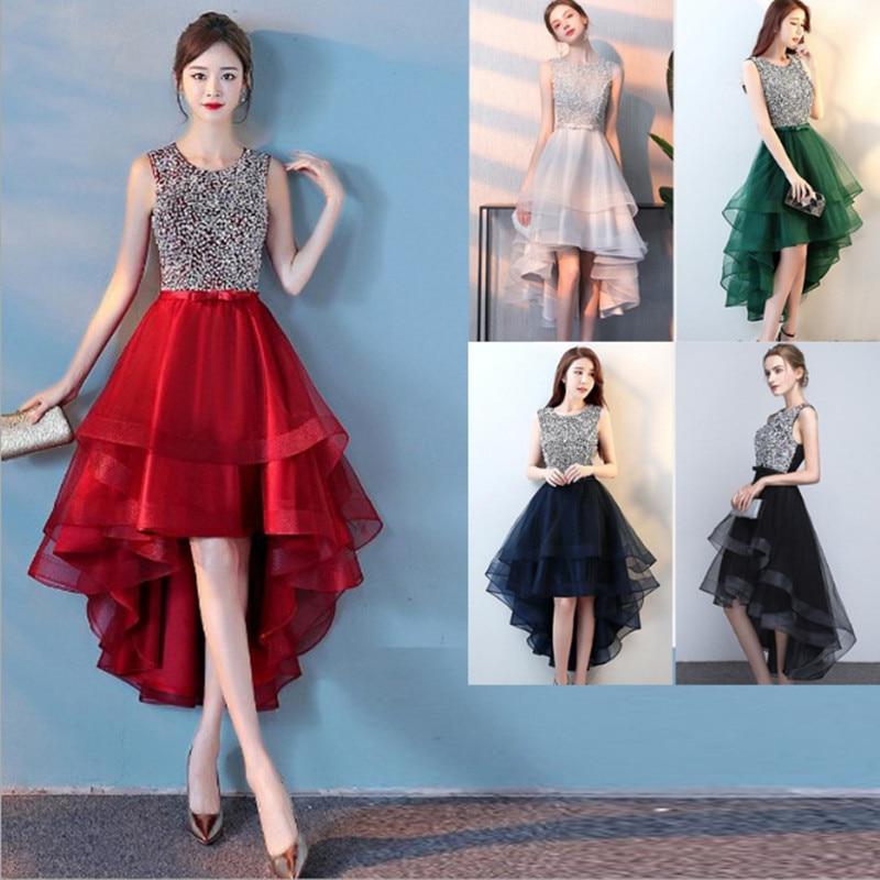 فستان سهرة غير متماثل جديد من Beauty Emily لحفلات الزفاف مزين بالترتر من أحجار الراين ورقبة مستديرة بدون أكمام مفتوح من الخلف