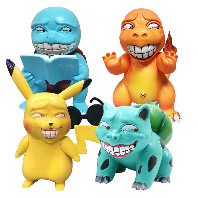¡Lindo Anime juego loco Pikachu Bulbasaur charmander Squirtle miserable Ver! GK divertido PVC en caja MODELO DE figura de acción muñeca juguetes regalo
