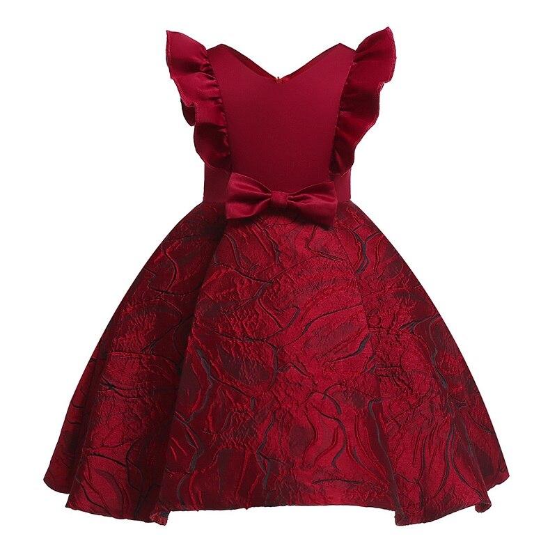 Ropa para niñas pequeñas 2020, vestido tutú para fiestas de cumpleaños para niñas, vestido elegante para damas de honor de vino tinto para niñas