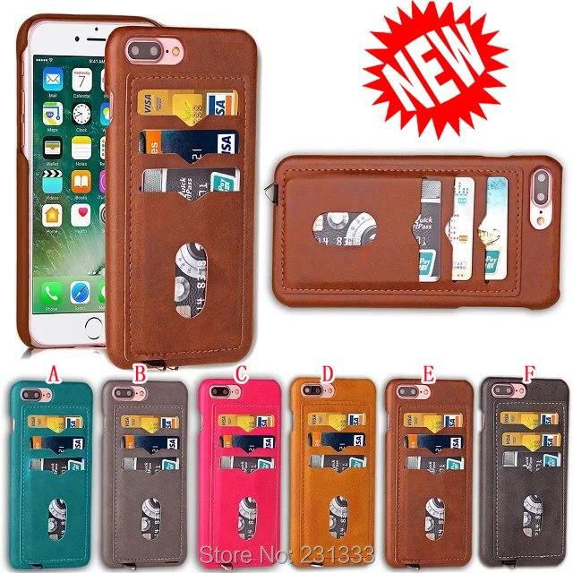 Para Iphone 11 PRO XR XS Max X 8 7 7plus I7 6 6S Plus Hard PC PU Funda de cuero crédito 2 3 ranura para tarjeta funda trasera híbrida bolsillo 1 Uds