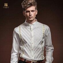 FANZHUAN mannen Shirt Lange Mouwen Slanke Plaid Britse Hof Wind mannen Borduren Wit Overhemd Herenkleding