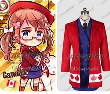 Anime APH Axis Powers hetalia cosplay Canada costume army uniform female dress coat set