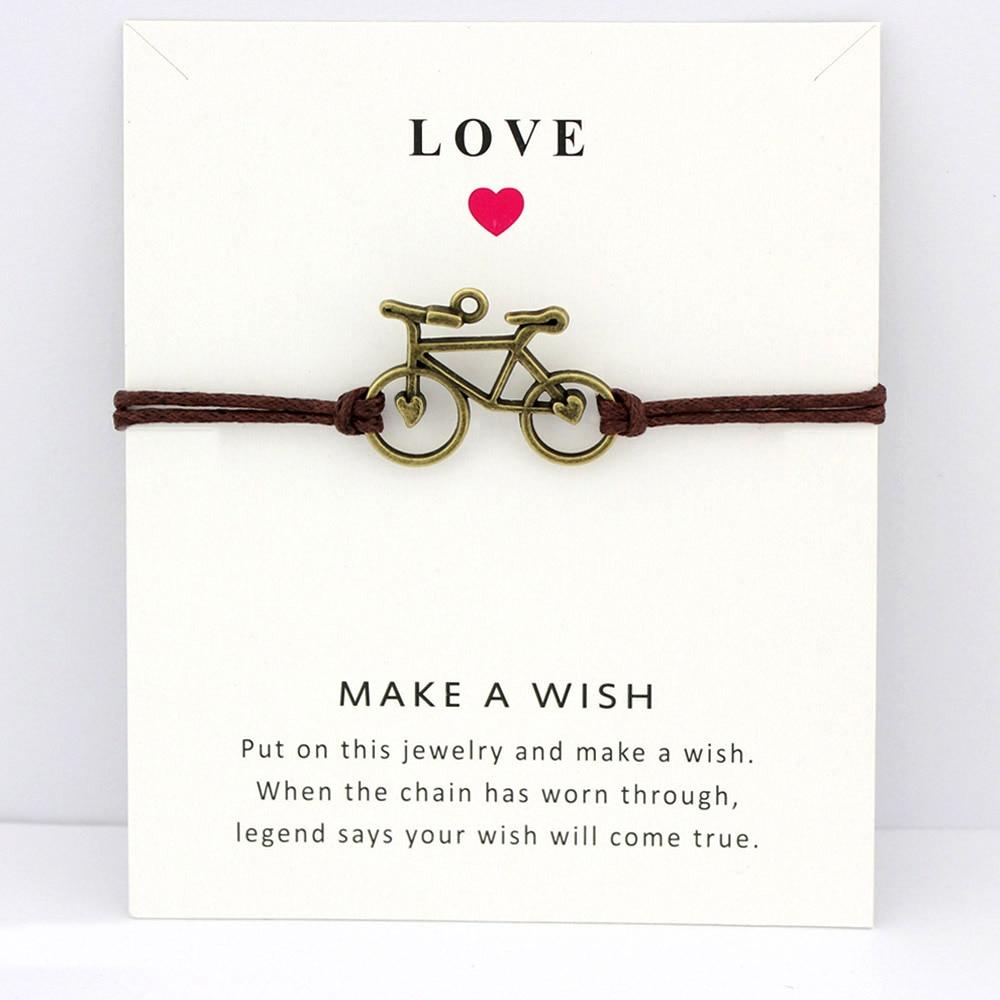 Bicycle Bike Charm Card Bracelets Bronze Jewelry Light Brown Blue Wax Cords Women Men Girl Boy Chris