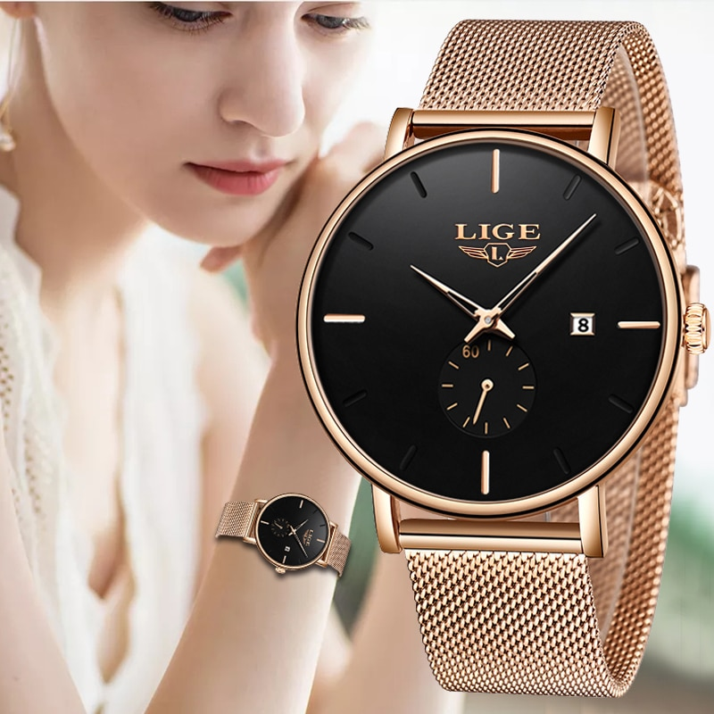 2019LIGE New listing Luxury Women Dress Gold Watch Simplicity Casual Date Quartz Clock High Quality Women's Watches Montre Femme enlarge