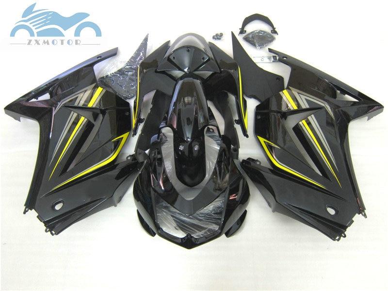 100% fitinjection molde carenagens kit para kawasaki 2008-2014 ninja 250r zx250 abs esportes carenagem df22 ex250 08 09-14 preto