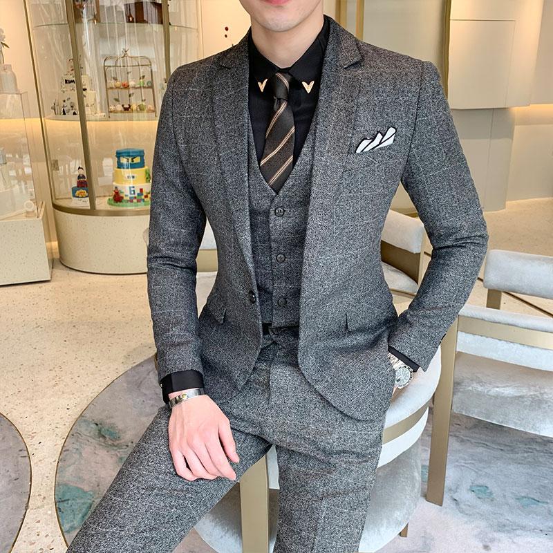 Jacket+Vest+Pants Suits High Quality Boutique Plaid Wedding Dress Suit 3-piece New Male Formal Business Casual Suits Size5XL