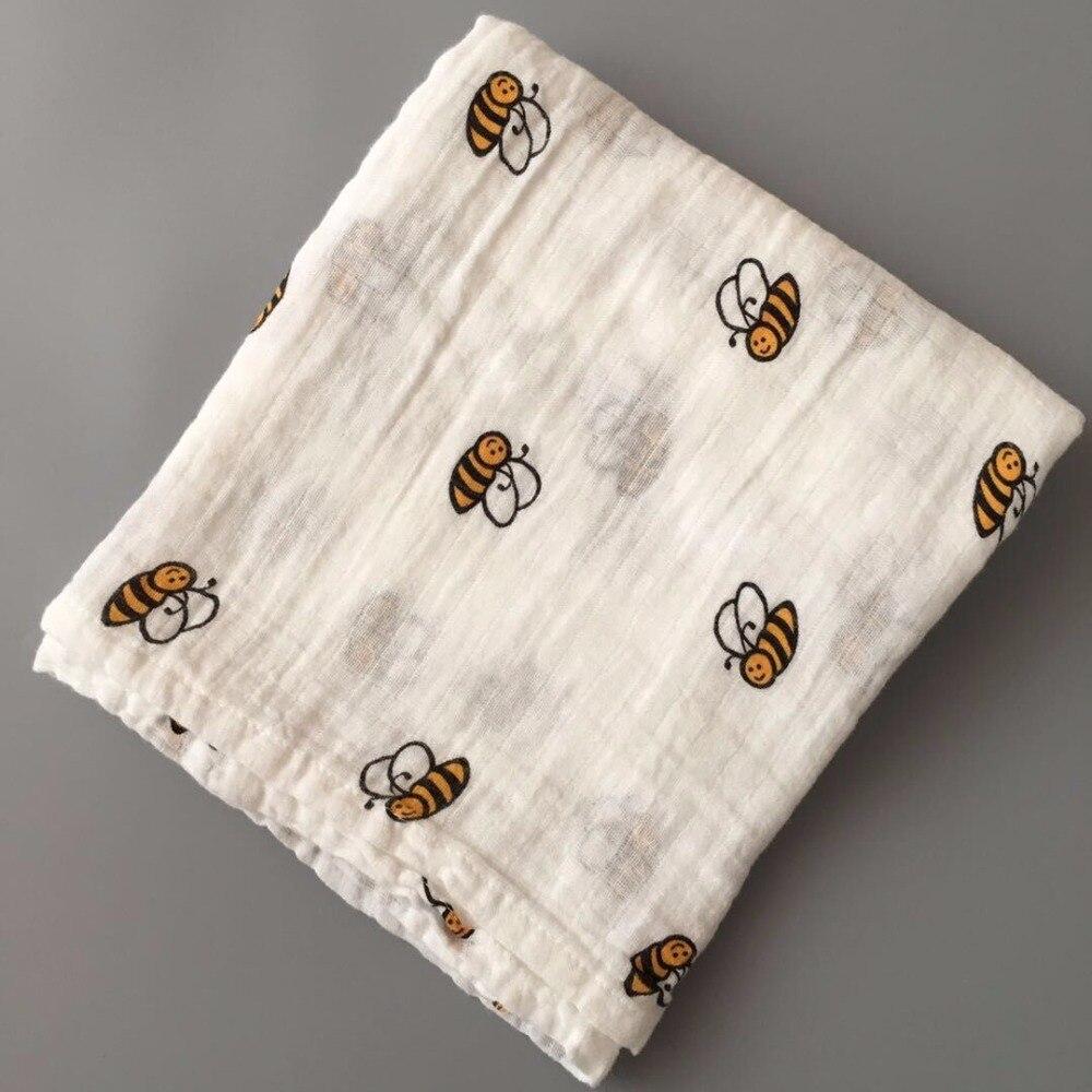 Baby Summer Muslin cotton Single layer baby towel geometry pattern newborn blanket swaddle infant wrap 120x120cm