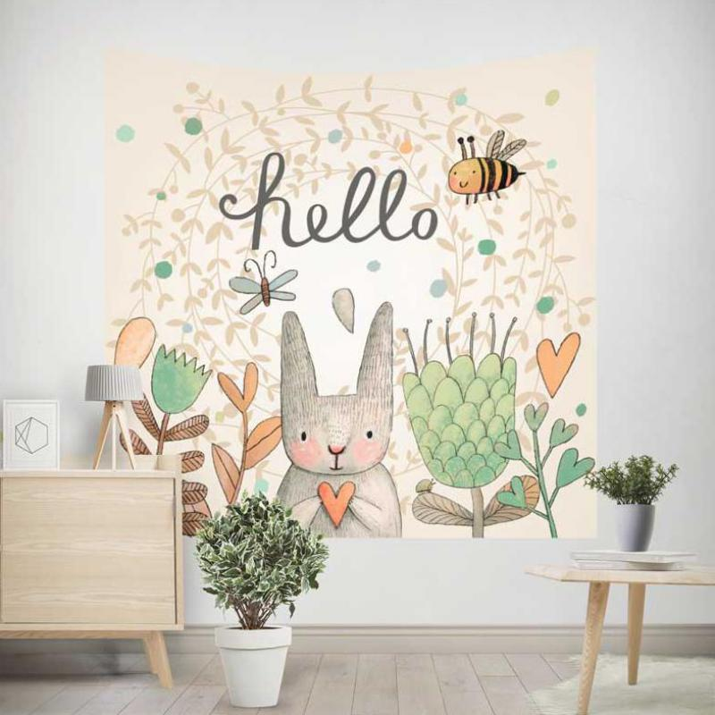 Tapiz de dibujos animados para niños abeja zorro conejo bosque flor León decoración Kawaii bonito Mural para colgar en la pared para bebé Pascua niños