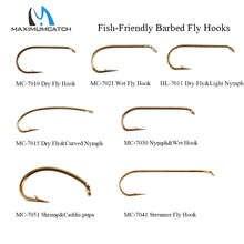 Maximumcatch 100 шт. 4 #-22 # рыболовные крючки с бородкой для ловли нахлыстом сухие и влажные, Нимфа и креветки Caddis Pupa Стример Летать крючки