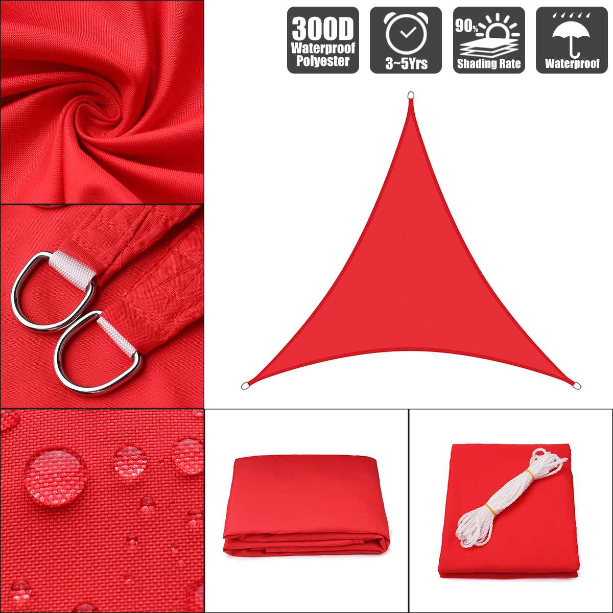 Couverture de protection solaire de piscine   3x3x3 4x4 3x3x4.3 rouge vif 300D polyester oxford équilatéral droit visière à voile, tente étanche