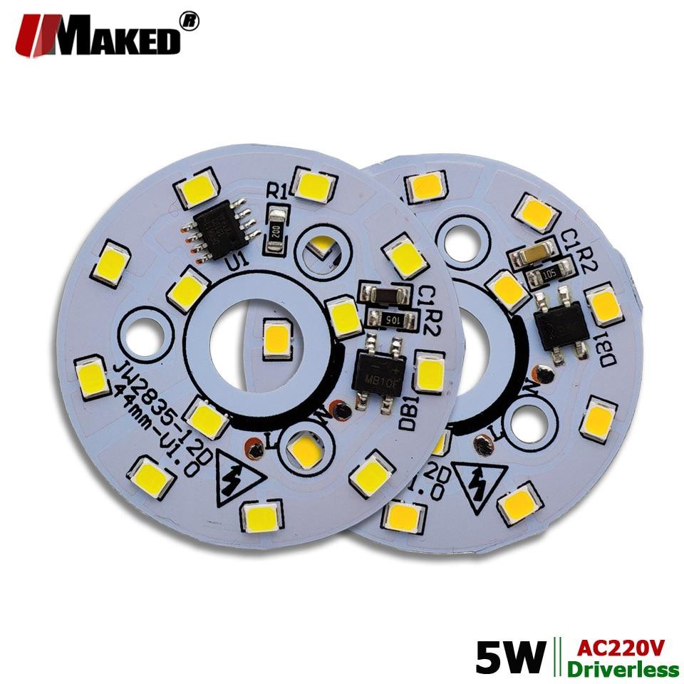 Ac220v 5w 44mm led módulo de luz pcb placa de alumínio quente/natural/branco smd2835 inteligente ic driver lâmpadas downlight lâmpadas teto diy