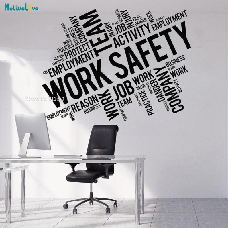 Calcomanía de vinilo para pared de seguridad de trabajo palabras nube Oficina arte decoración extraíble pegatinas murales de vinilo sala de estar dormitorio YT1172