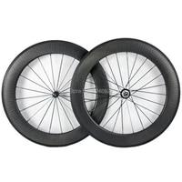 oem 80mm dimple carbon wheelset 25mm width with novatec or powerway hub dimple surface wheel