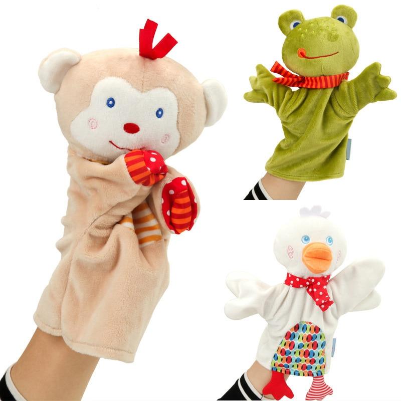 ¡Novedad! Toalla tranquilizadora para bebé, muñeco de peluche de marioneta de dibujos animados, juego cuentacuentos de títeres de mano