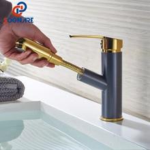 SOGNARE mélangeur dévier en cuivre   Robinet de salle de bains de lavabo, extractible or/noir, grue dévier de bain, robinets de lavage montés sur le pont chaud et froid