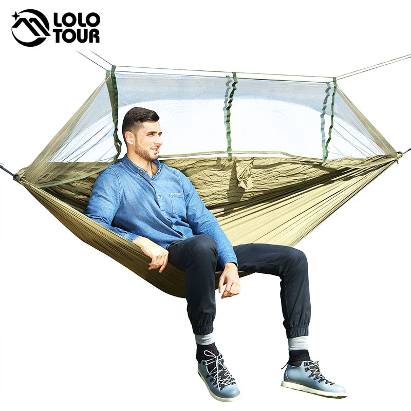 Hamaca colgante de paracaídas para 1-2 personas, mosquitera para exteriores, cama para dormir, columpio, silla doble portátil, verde militar