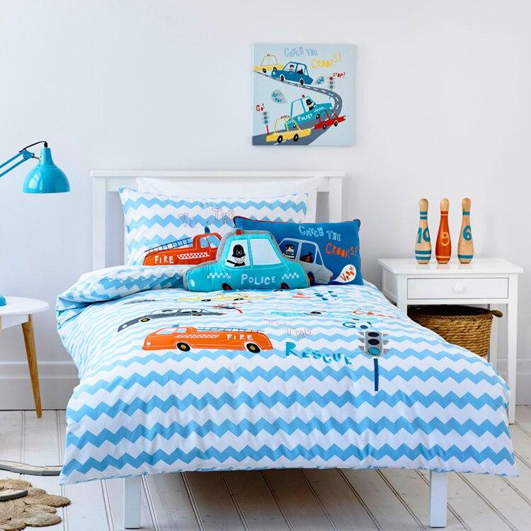 Envío Gratis, juego de cama de coche azul policía, motor de fuego de dibujos animados para niños, apliques de patchwork, ropa de cama bordada sin relleno