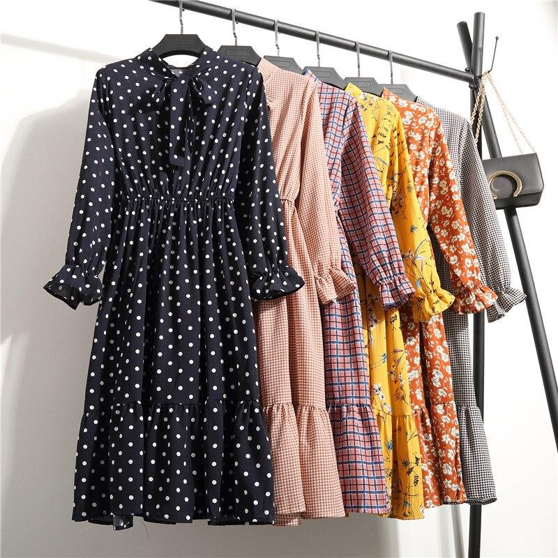 Coreano negro camisa Vestidos Oficina lunares Vintage Vestidos de Otoño de las mujeres vestido imprimir 2020 Midi vestido Floral de manga larga Mujer