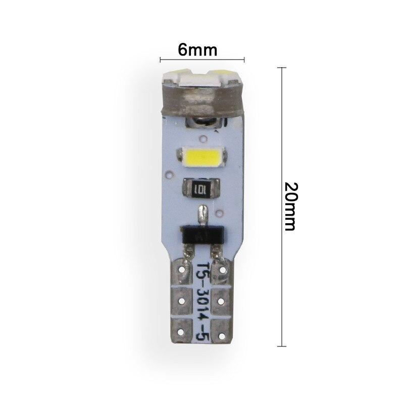 6x T5 светодиодный 17 37 73 74 SMD 3014 авто светодиодный 5SMD лампа автомобиля дверь багажника приборная панель светильник лампочка 12V белого и синего ...