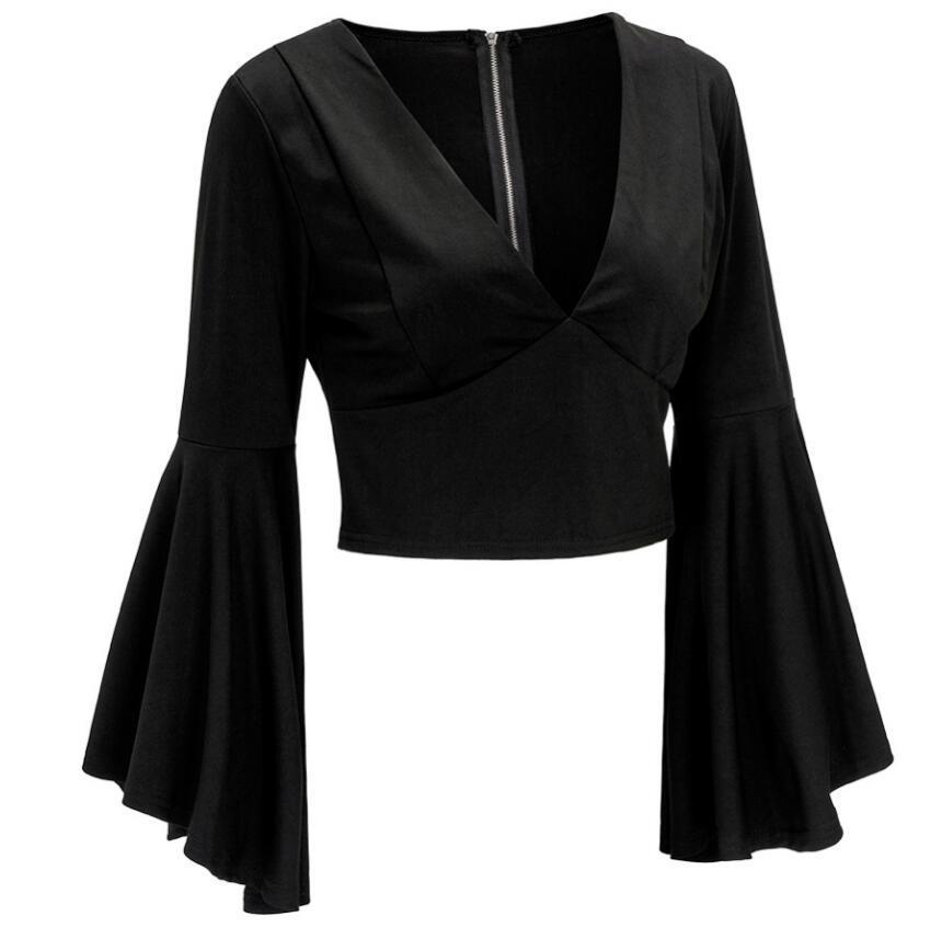 2018 nueva moda de algodón camiseta con cierre femenino Sexy expuesto ombligo manga corta Camiseta de mujer de talla grande