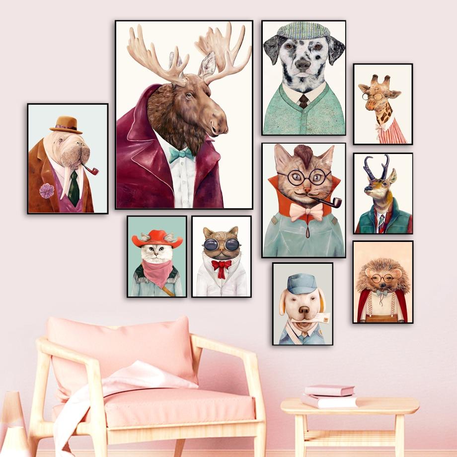 Moose cão gato coruja girafa ouriço arte da parede pintura em tela nórdico cartaz e impressão animais imagem parede crianças quarto do bebê casa deco