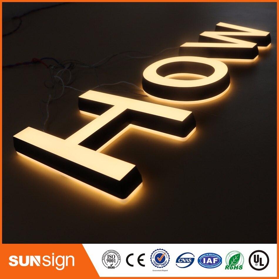 Aliexpress Factory Outlet 2016 nueva llegada letras LED superbrillo acrílico iluminado para signo de tienda