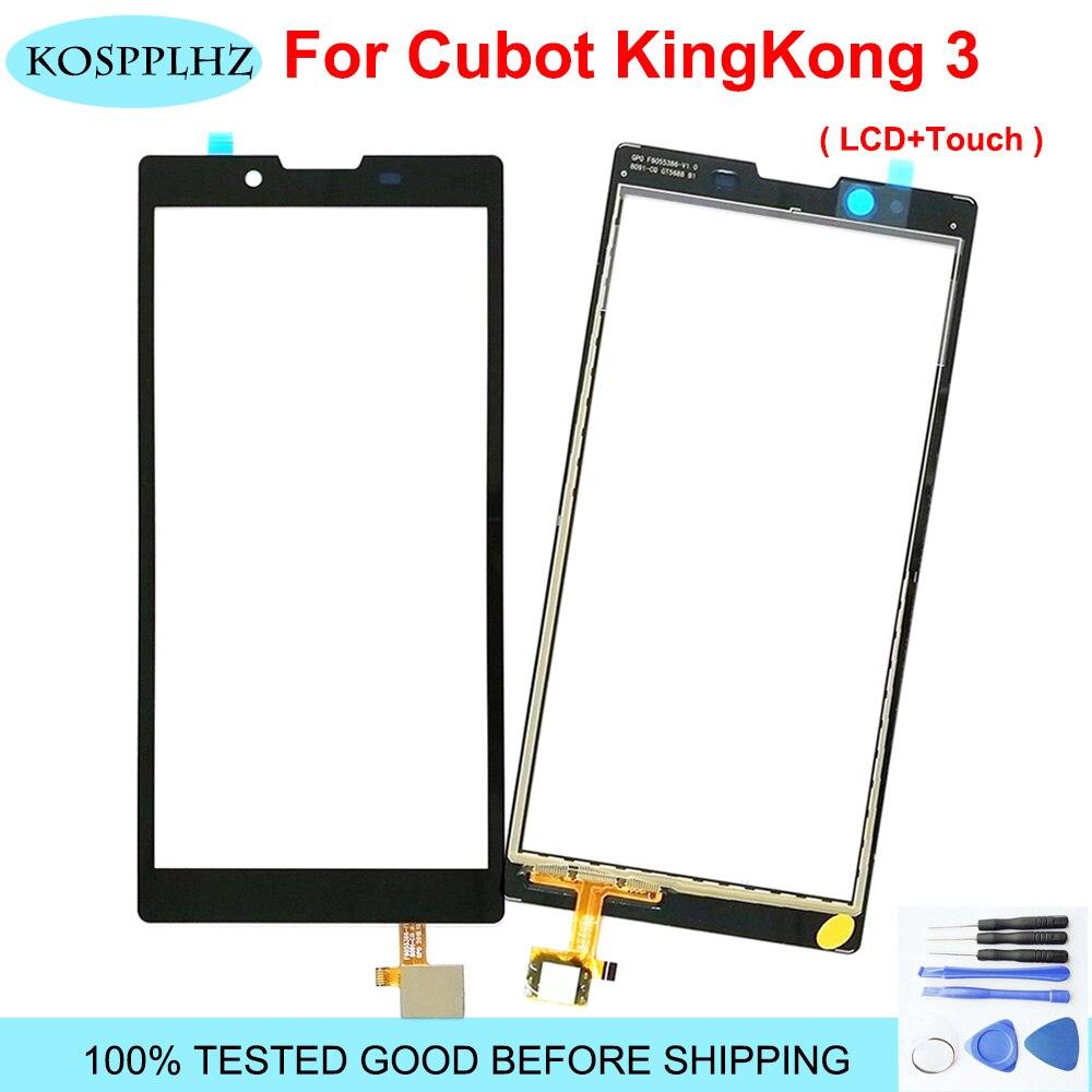 Para cubot king kong 3 king kong3 kingkong3 kingkong 3 vidro da tela de toque 100% testado digitador substituição do painel vidro + ferramentas